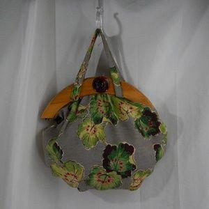 60's Vintage Fabric Handbag With Wood Closure
